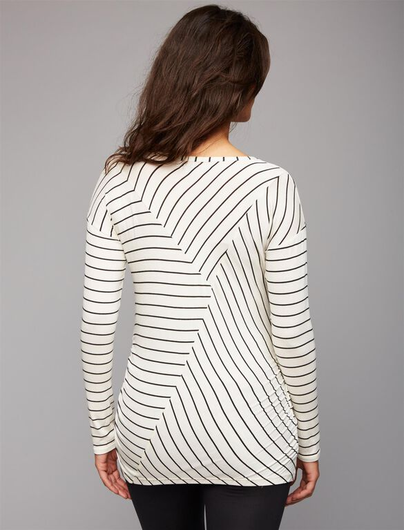Beyond The Bump Super Soft Maternity T Shirt, White/Black Stripe