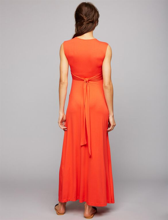 Pietro Brunelli Knot Front Maternity Maxi Dress, Poppy Red