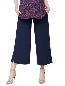 Secret Fit Belly Crepe Wide Leg Ankle Maternity Pants, Navy