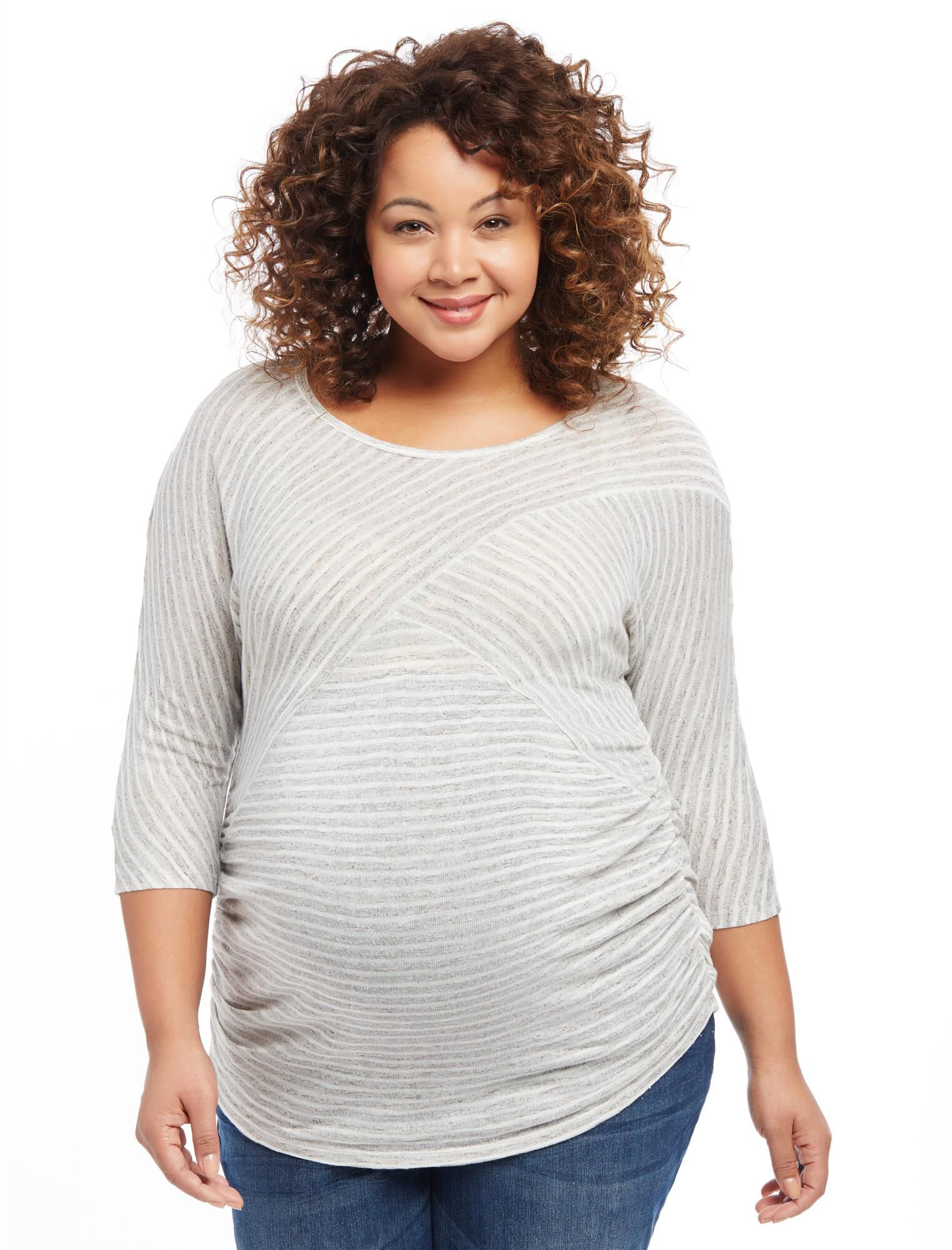 Plus Size Striped Dolman Maternity Top