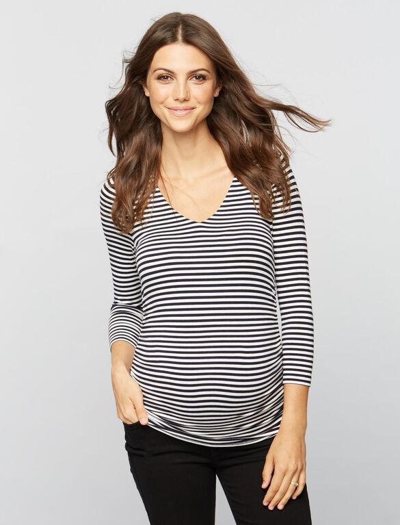 Isabella Oliver Arlington Striped Maternity Top, Navy/White Stripe