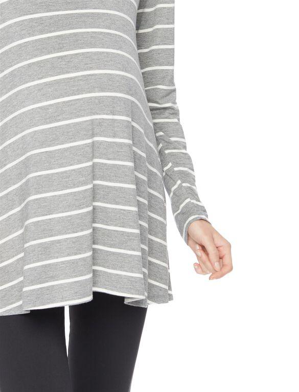 Long Sleeve Legging Maternity Tee- Stripe, Grey/White Stripe