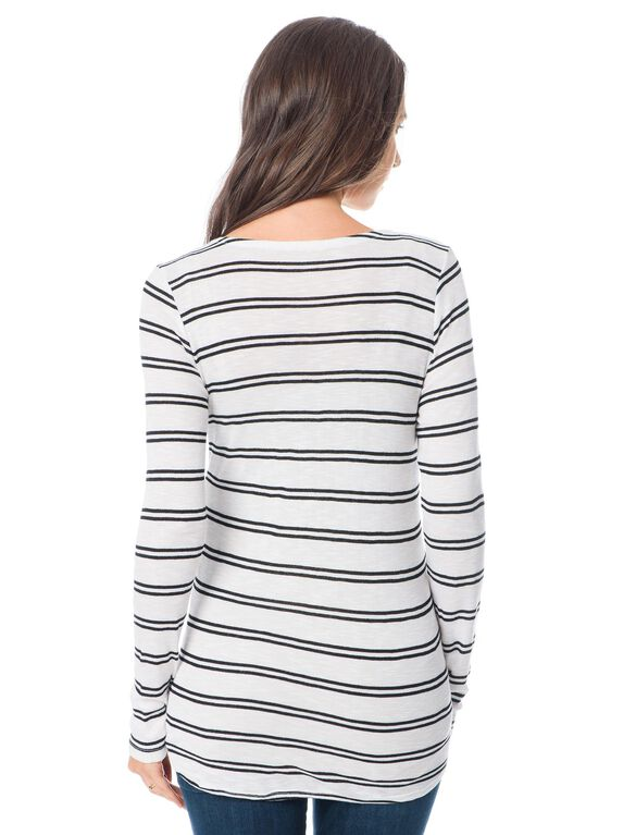 Splendid Maternity T Shirt, White/Black Stripe