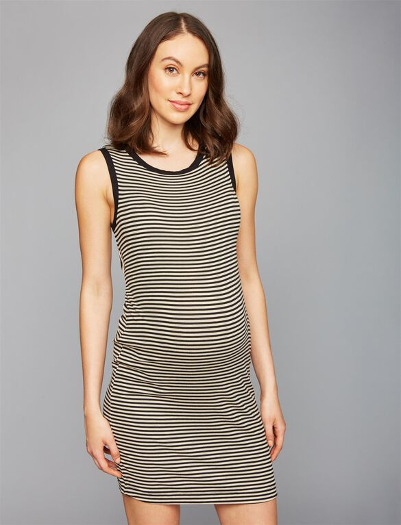 Splendid Twist Back Striped Maternity Dress, Black/Cream