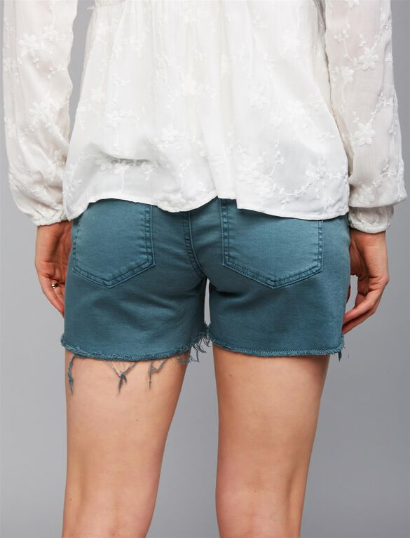 Secret Fit Belly Fray Hem Maternity Shorts, Sea Pine