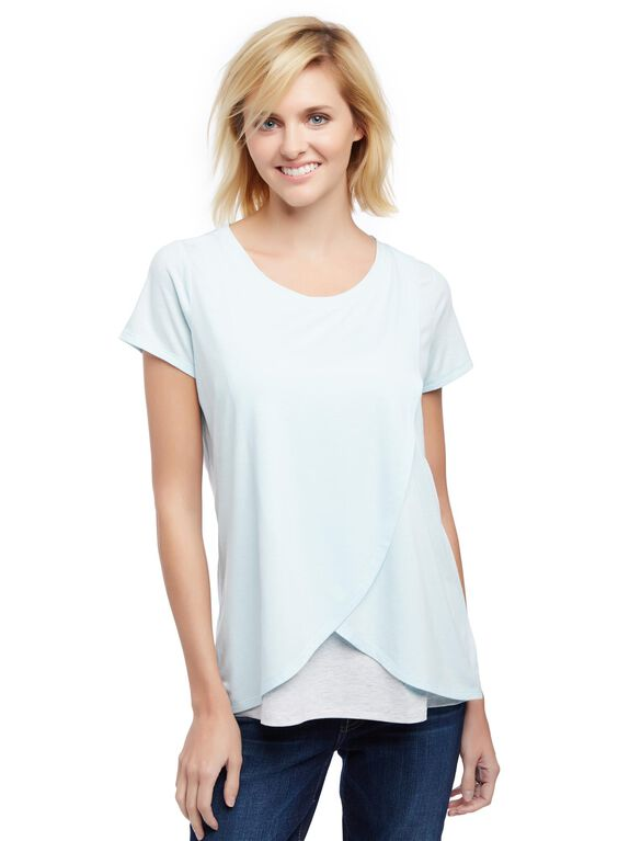 Short Sleeve Tulip Layered Nursing T-shirt- Solid, Aqua Wave