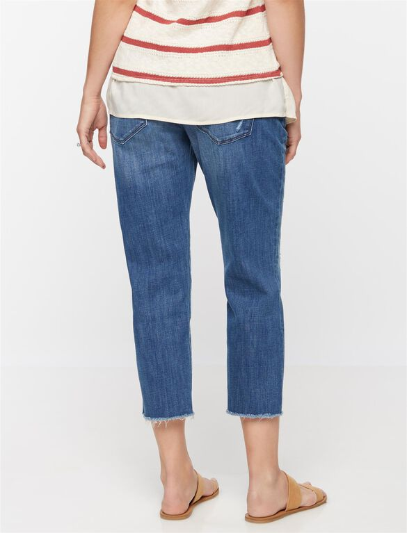 DL1961 Secret Fit Belly Riley Crop Maternity Boyfriend Jeans, Med Wash