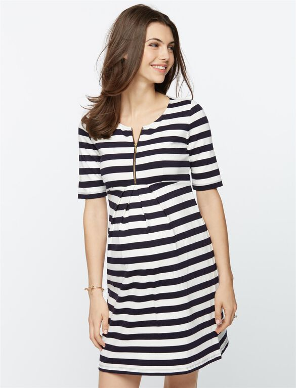 Isabella Oliver Baywood Striped Maternity Dress, Navy/White Stripe