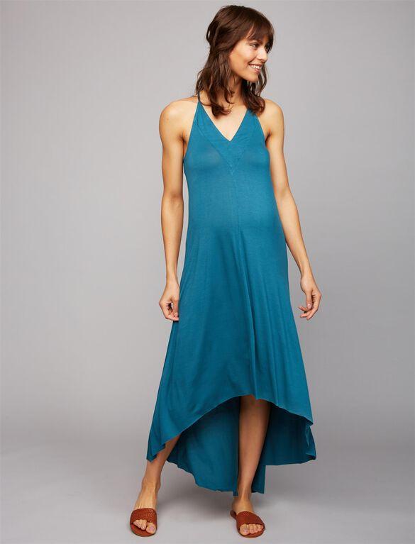 Splendid High-low Hem Maternity Dress, Green