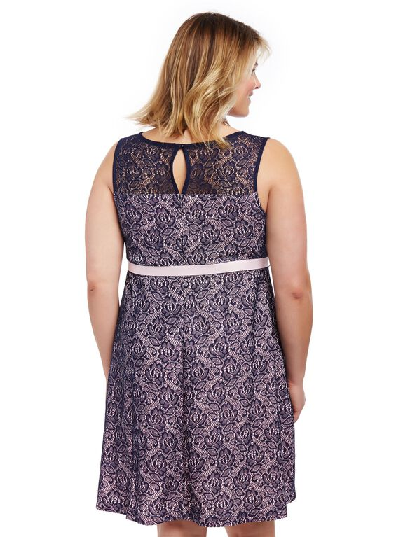 Plus Size Gender Reveal Lace Maternity Dress, Navy/Pink