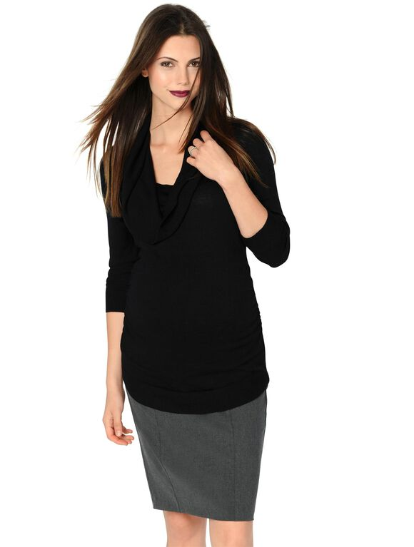 Side Ruched Maternity Sweater, Black