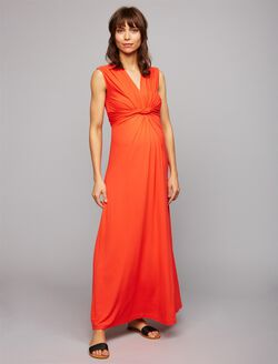 Pietro Brunelli Knot Front Maternity Maxi Dress, Poppy Red