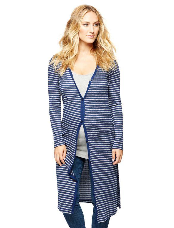 Splendid Striped Maternity Cardigan, Navy