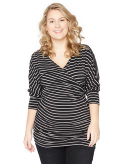 Plus Size Surplice Neckline Maternity Top, Black/Grey Stripe