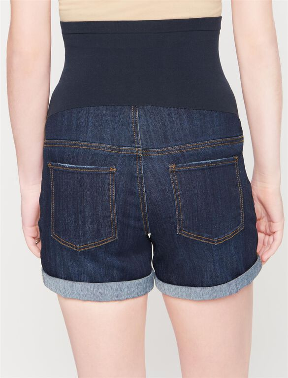 Secret Fit Belly Cuffed Maternity Shorts, Indigo Denim