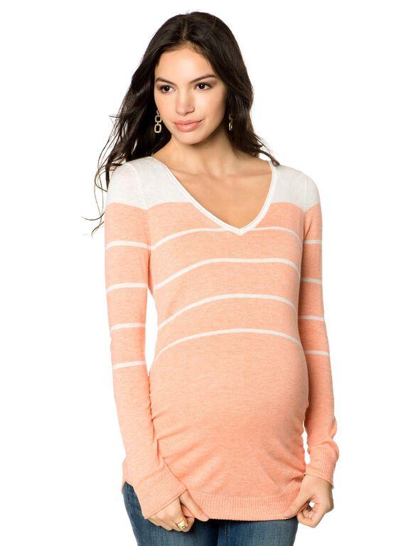 Variegated Stripe Maternity Sweater, Heather Peach