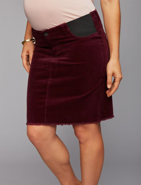 Ripe Under Belly 1 Button Closure Maternity Skirt, Red