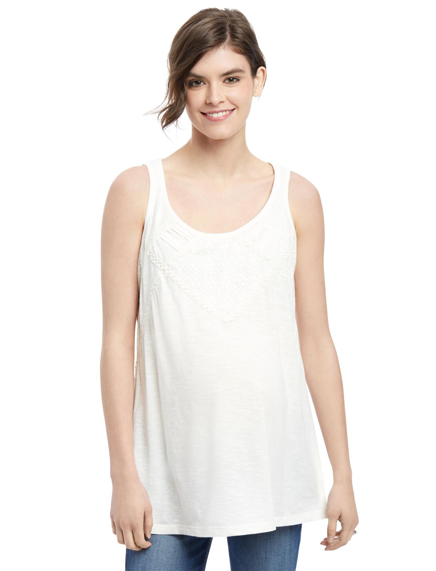 Lace Trim Maternity Swing Tank
