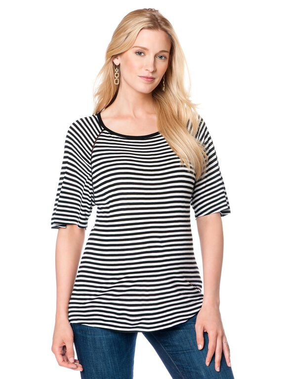Relaxed Fit Maternity Top, Black/White