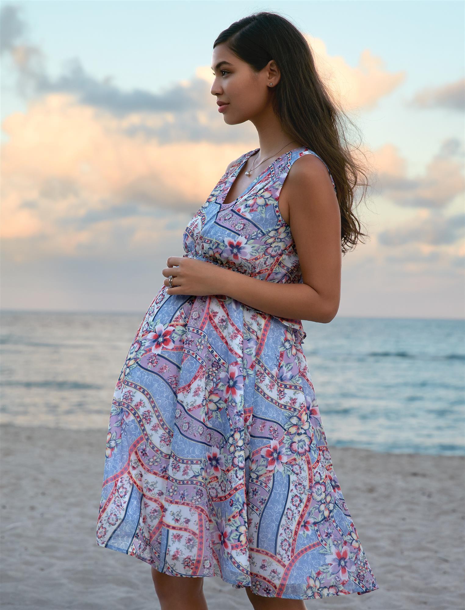 Ribbon Print Maternity Dress