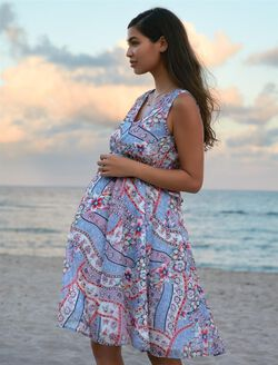 Ribbon Print Maternity Dress, Ribbon Print