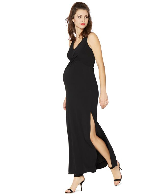 Knot Front Maternity Maxi Dress, Black