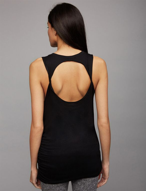 Beyond The Bump Back Interest Maternity Tank Top, Black/Steel