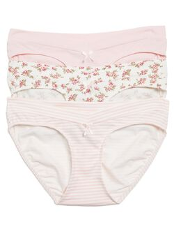 Printed Fabric Maternity Hipster Panties (3 Pack), Black/Nude/Pink