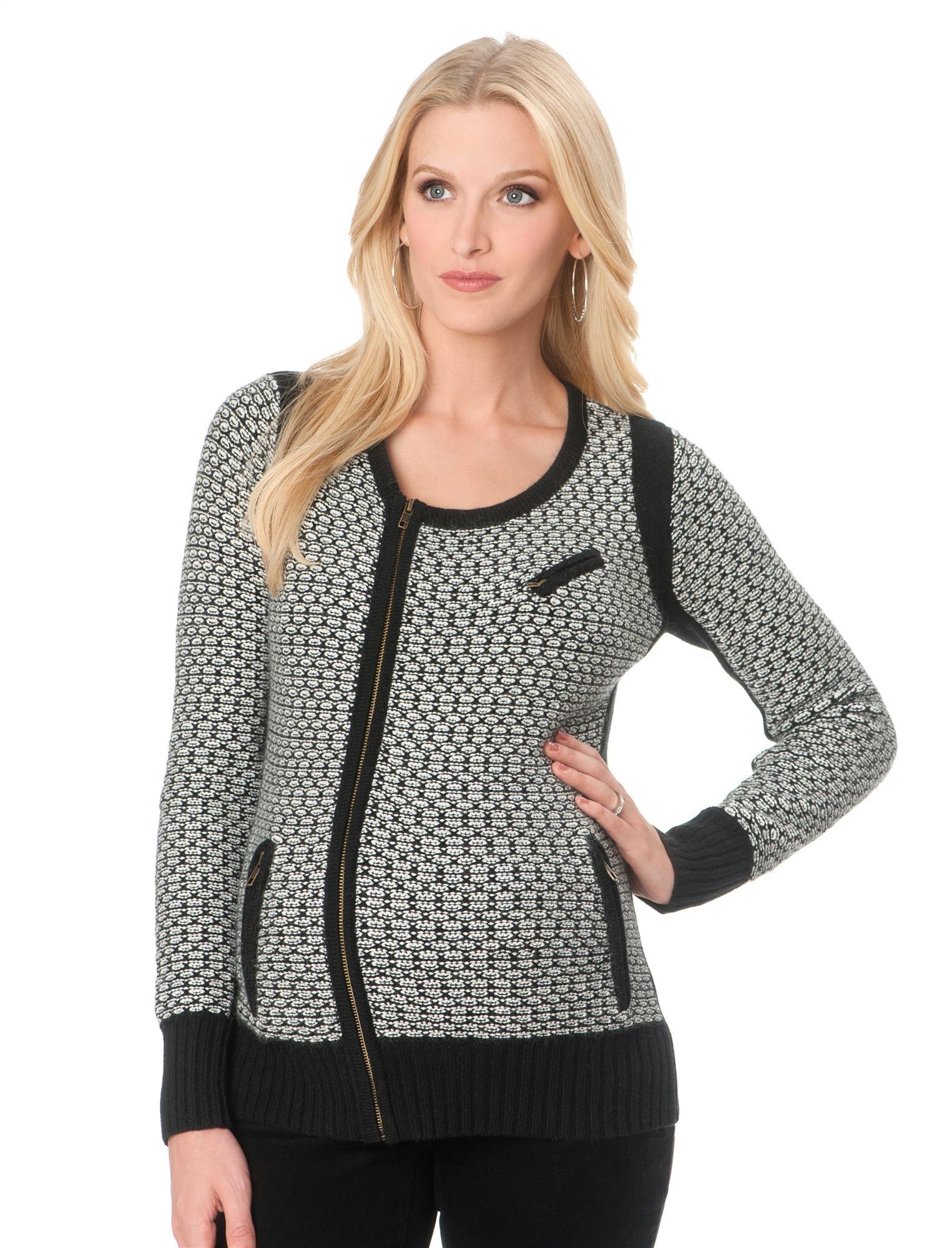 Zip Front Wool Maternity Jacket