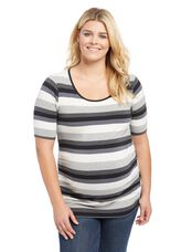 Plus Size Side Ruched Maternity Tee- Neutral Stripe, Neutral Stripe