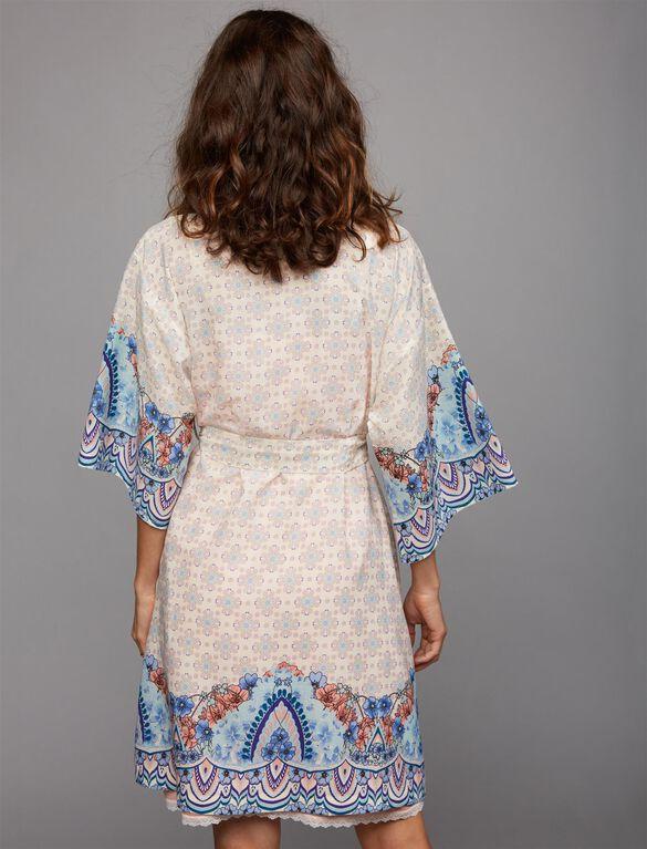 Tie Front Maternity Robe, Border Print