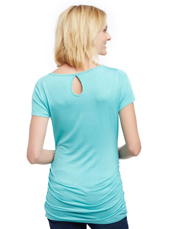 Lace Detail Side Ruched Maternity Tee- Solid, Turquoise