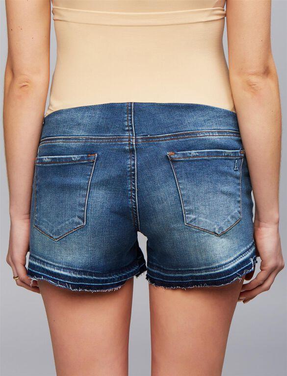Articles Of Society Secret Fit Belly Fray Hem Maternity Shorts, Medium Wash