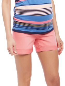 Indigo Blue Secret Fit Belly Roll Hem Maternity Shorts- Red, Rouge Red