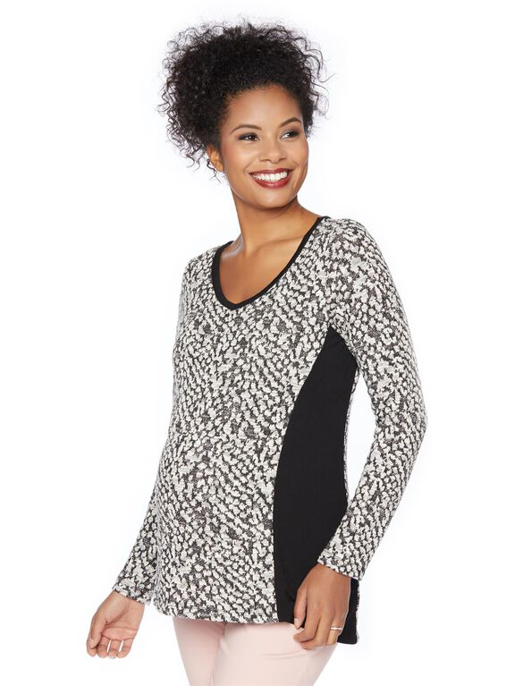 Animal Print Maternity Sweatshirt, Black And White