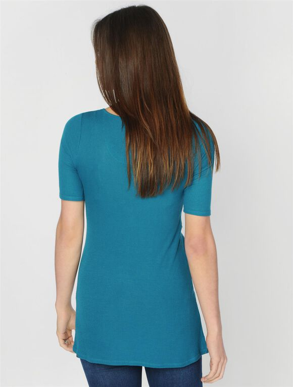Luxe Essentials Uneven Hem Maternity Tunic, Teal