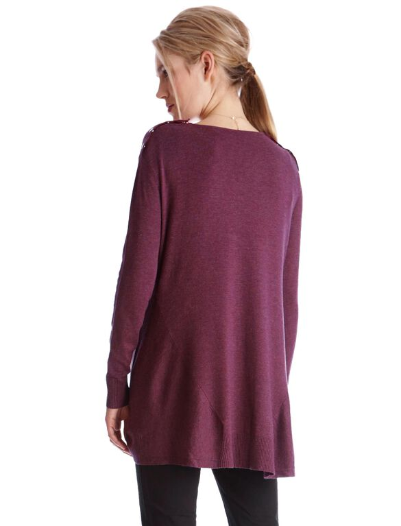 Long Sleeve Button Detail Maternity Sweater- Grape, Grape
