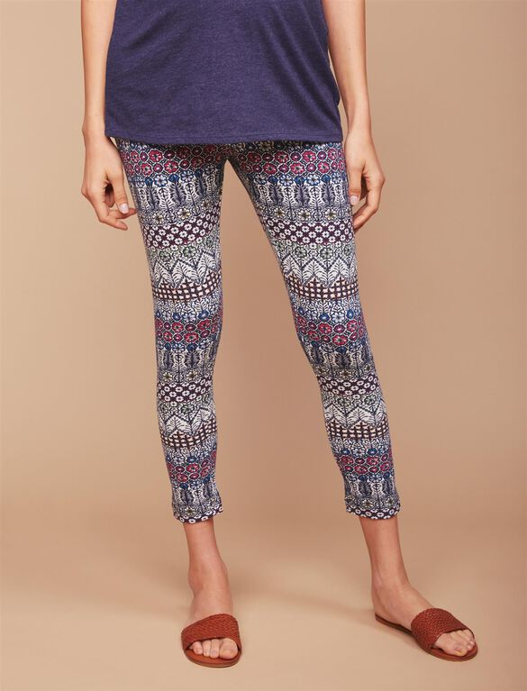 Secret Fit Belly Printed Maternity Crop Leggings- Tribal, Tribal Print