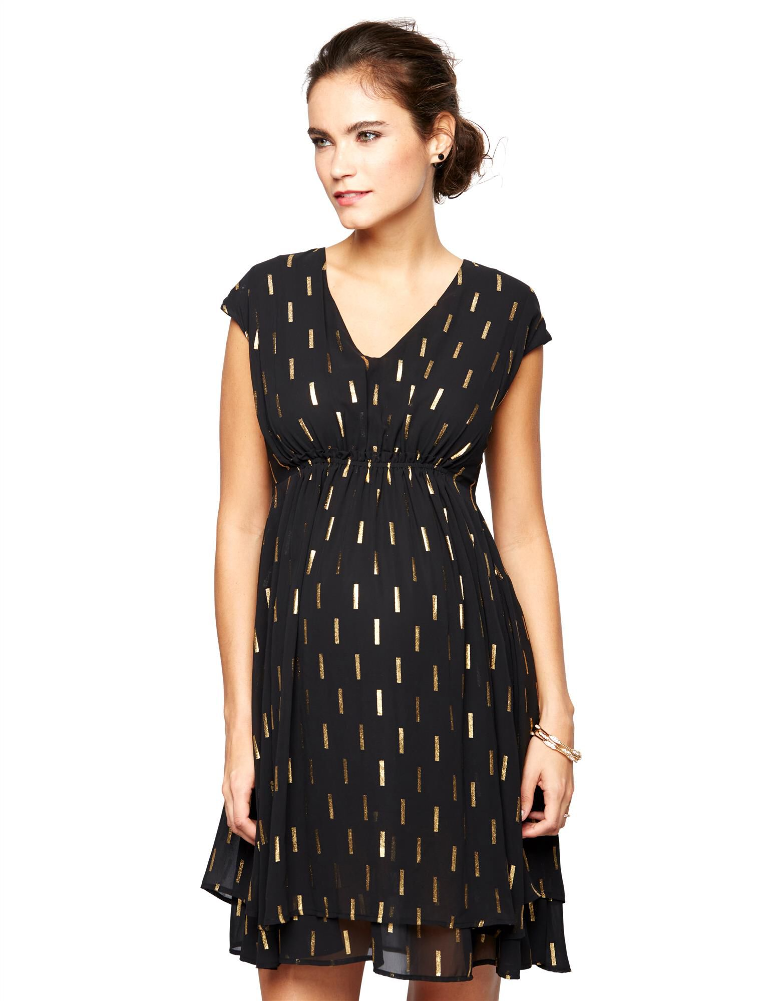 Collective Concepts Metallic Dot Print Maternity Dress