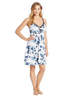 Jessica Simpson Lace Trim Maternity Nightgown, Floral