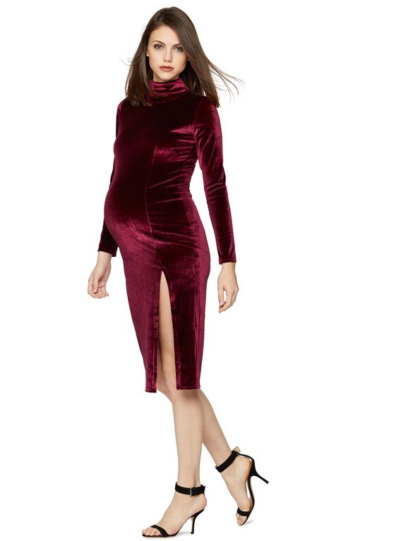 Rachel Pally Velvet Turtleneck Maternity Dress, Wine