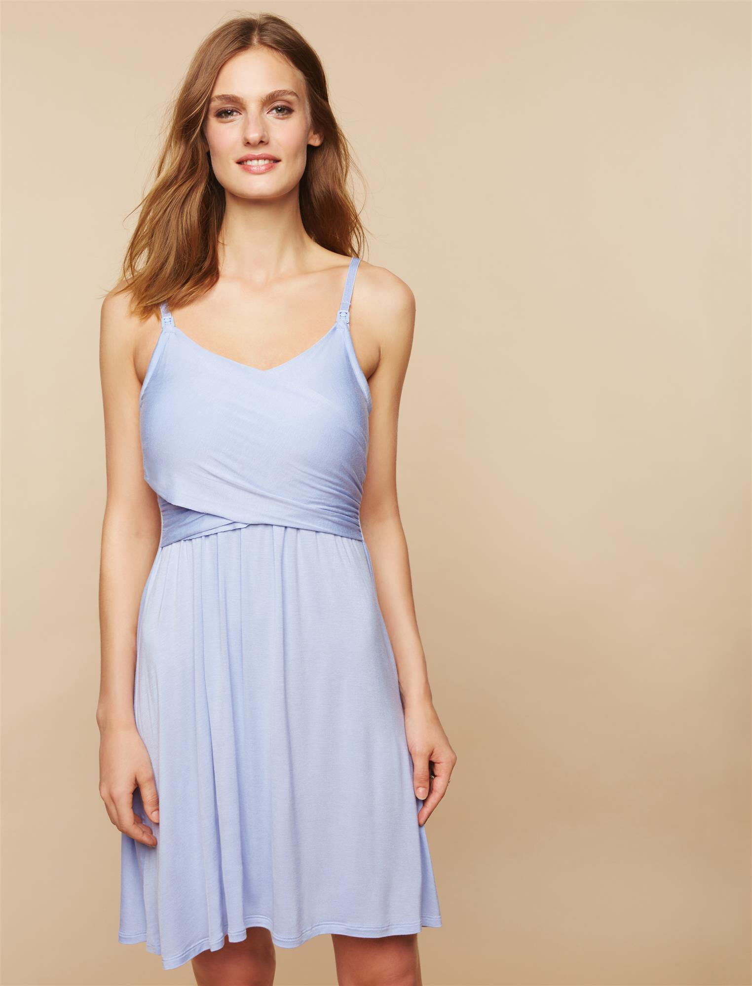 Twist Front Clip Down Nursing Nightgown- Solid