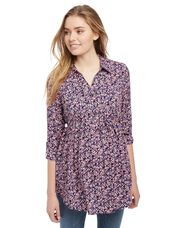 Front Pocket Maternity Shirt- Floral, Dits