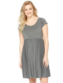 Jersey Knit Fit And Flare Maternity Dress- Heather Grey, Heather Grey