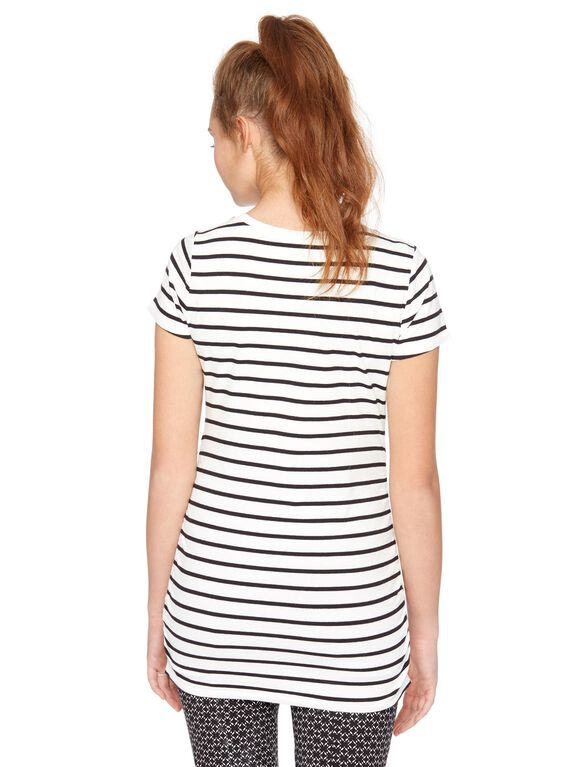 V-neck Side Ruched Maternity Tee, Blk/White Stripe