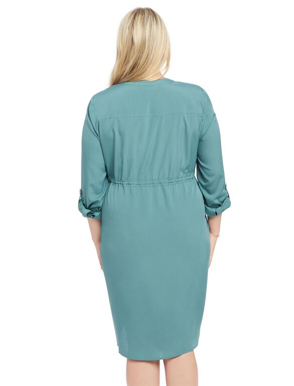 Plus Size Maternity Shirt Dress, Sea Pine Teal