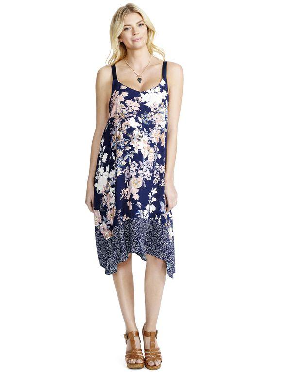 Jessica Simpson Hanky Hem Maternity Dress, Blue Floral