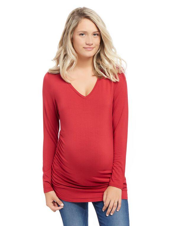 Long Sleeve Maternity Tee, Red