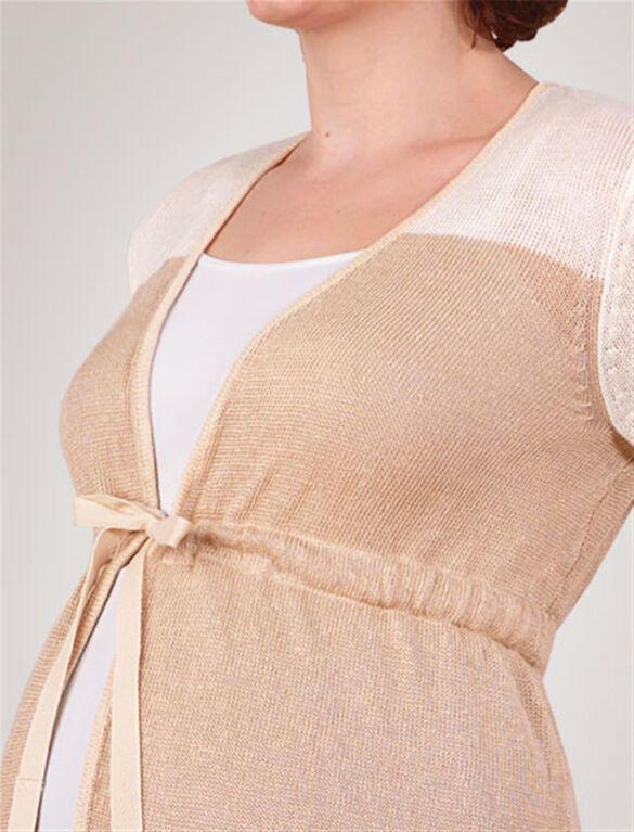 Empire Waist Maternity Cardigan, Ivory/Khaki