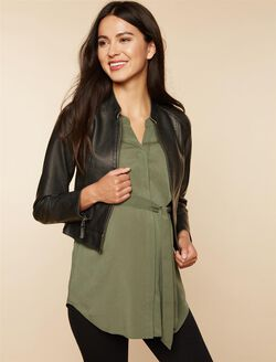 Faux Leather Maternity Jacket, BLACK